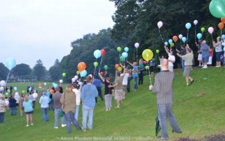 Aaron Plunkett's Public Memorial Balloon Release Cobbs Hill Park Rochester NY